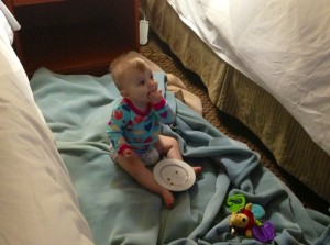She doesn't usually get to eat breakfast in front of the TV with no pants on.  She was really living it up here.